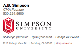 Simpson University E-mail Signature Graphic