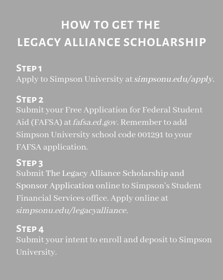 Legacy Alliance Scholarship Steps