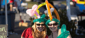 Students pose in balloon hats during Homecoming Weekend