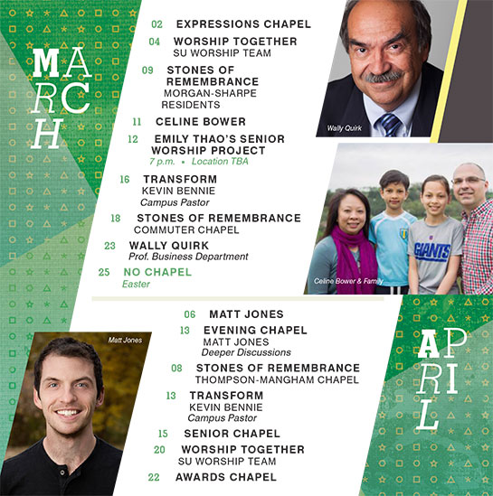 March and April 2016 Chapel Speakers