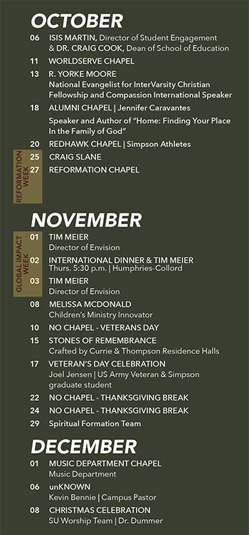 Fall Chapel Schedule