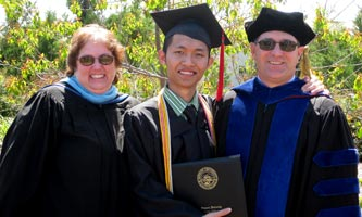 Nguyen Tran with professors Kim and Michael Huster