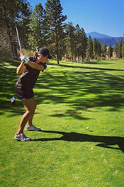 Brooke golfing at Running Y ranch in Oregon in 2015
